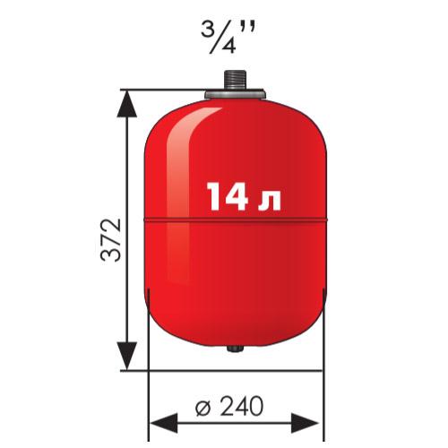 Расширительный бак Джилекс 14 литров со стальным фланцем