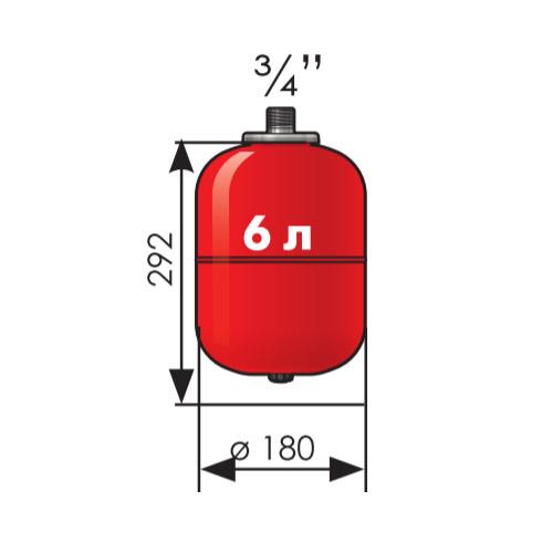 Расширительный бак Джилекс 6 литров с пластиковым фланцем