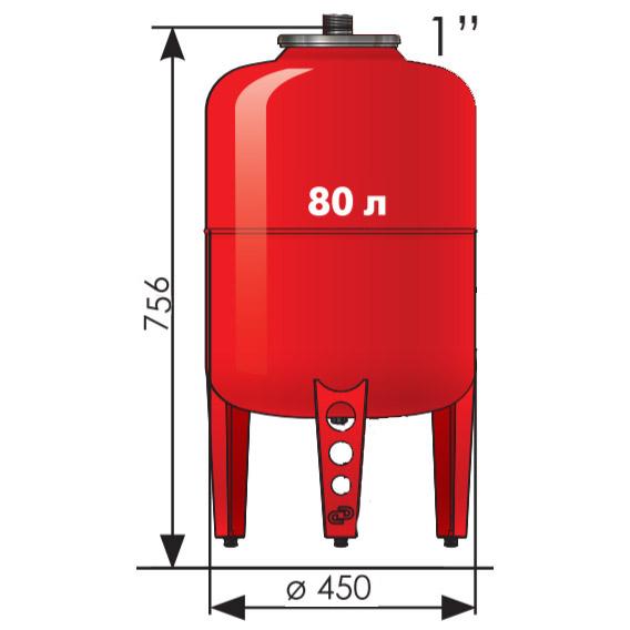 Расширительный бак Джилекс 80 литров
