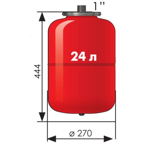 Расширительный бак Джилекс 24 литра для систем отопления