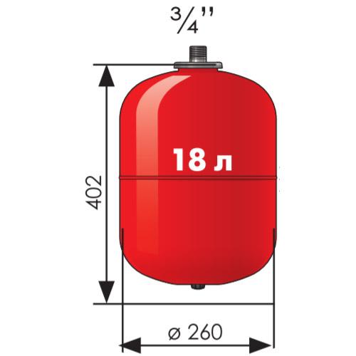 Расширительный бак Джилекс 18 литров с пластиковым фланцем